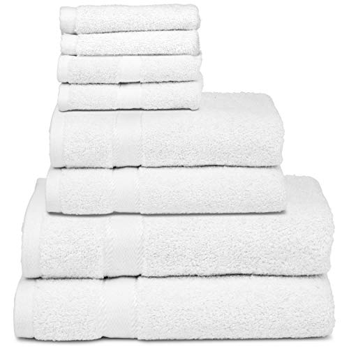 Luxury Cotton Bath Towel Set - 8 Piece | 2 Bath Towels, 2 Hand Towels, 2 Matching and 2 Extra Washcloths | 650 GSM Premium Cotton | Highly Absorbent & Ultra Soft Hotel Quality Bathroom Towel Bundle