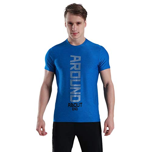 Men's Gym Muscle Fitness Workout Shirt,MmNote Men's Fashion Text Printing Design Active Performance Sports Cool Quick T-Shirt Blue