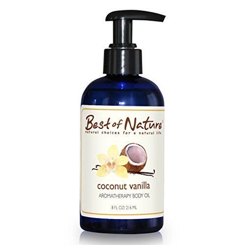 Coconut Vanilla Aromatherapy Body Oil - 8oz - 100% Pure & Natural (Coconut Scented Massage Oil)
