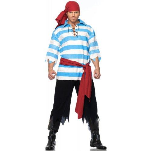Leg Avenue Men's Pillaging Pirate Costume, Blue/White, Medium/Large ()
