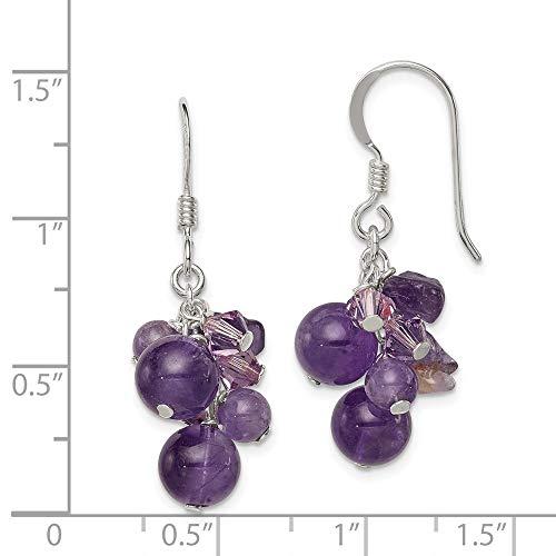 925 Sterling Silver Purple Amethyst Bead lavender Crystal Quartz Drop Dangle Chandelier Earrings Fine Jewelry Gifts For Women For Her