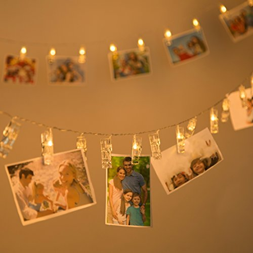 LED Photo Clips String Lights with 20 Clips,Fairy Twinkle Lights for Wedding Party Christmas Home Decor, Hanging Photos, Cards, Painting Pictures (Paper Source Halloween Cards)