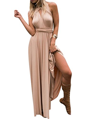 (PARTY LADY V-Neck Sleeveless A-Line Floor Length Chiffon Formal Dress Size M)