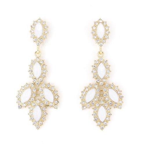 Date Designer Earrings (Beautiful Gold-tone Full White Crystal Leaf Dangle Post Backings Drop)
