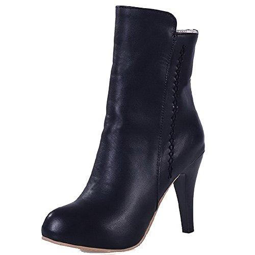 Solid High Boots Black Toe Round Zipper Closed Low Top Women's AgooLar Heels qwx8Att