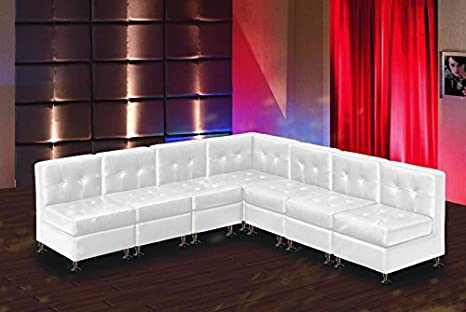 Modern Line Furniture 9049W G8 Modular Leather Armless L Shape Sectional  Sofa Set For