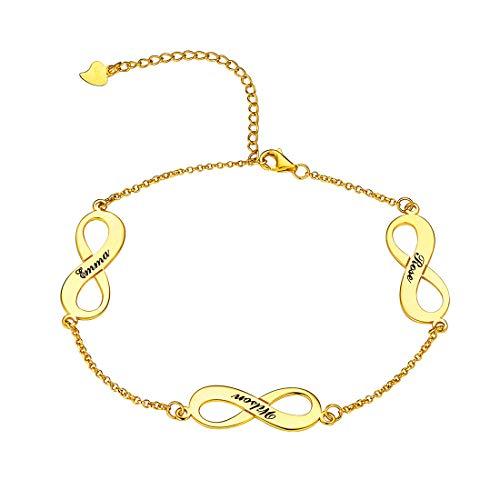 U7 Infinity Anklet Bracelet Customized 18K Gold Plated Sterling Silver Endless Love Link Charm Anklets,Adjustable 17CM-22CM