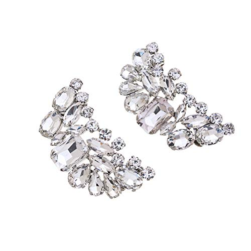 Casualfashion 2 Pcs Charming Women's Crystal Rhinestone Shoe Clips Double Buckles Shoes Decoration for Wedding Party (Rhinestone Clips Shoe)