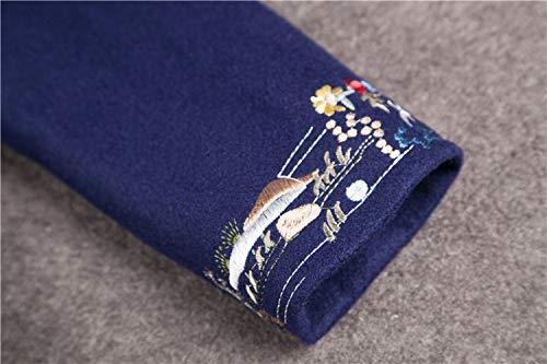 blu Sciolto Lungo A Di Lana Vento Inverno Autunno Cappotto Signore s Maniche Nuovo Ricamo Fjthy Lunghe Cinese Vintage E Giacca qvx6S1AwU