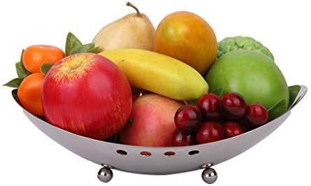 フルーツボウル ステンレス鋼のフルーツボウルバスケット、クロムフルーツ野菜プレートの表示は、キッチンとリビングルームのセンターピースのためのスナック洋菓子ナッツキャンディトレイ、30x24x10cmスタンド