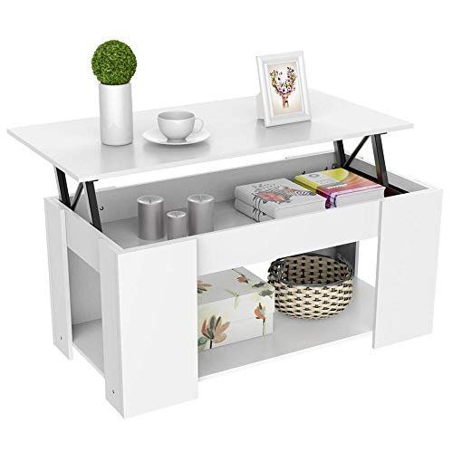 (Yaheetech Lift-up Top Coffee Table w/Hidden Storage Compartment & Shelf White)