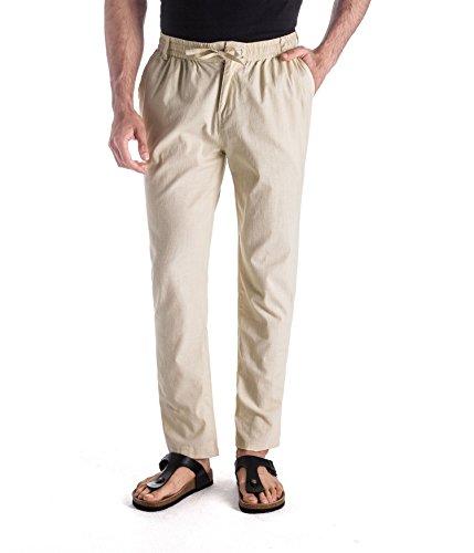 MUSE FATH Men's Linen Drawstring Casual Beach Pants-Lightweight Summer Trousers-Beige New-XXL
