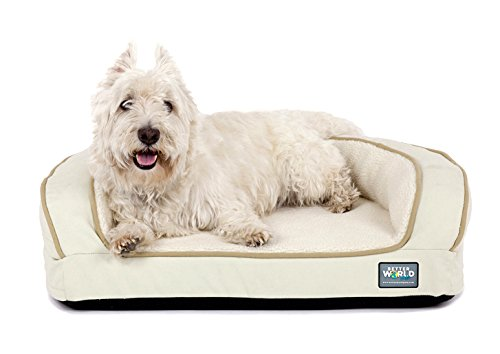 Better World Pets Super Comfort Bolster Dog Bed :: Waterproof Memory Foam Pet Bed with Durable Canvas Cover, Extra Plush Fleece + Foam Bolsters :: 4 Inch Thick, Washable, Small, White Sand