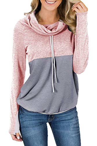 HOTAPEI Women's Sweatshirts Fall Casual Pullover Tops Shirts Color Block Long Sleeve Cowl Neck Sweatshirts for Juniors Teen Girls with Pockets Pink Large