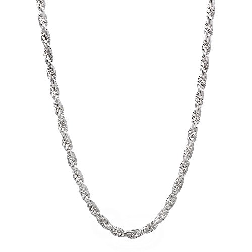2.2mm Solid 925 Sterling Silver Diamond-Cut Rope Link Italian Chain, (Plated Diamond Cut Rope Chain)