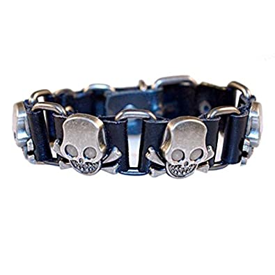 Black Vintage Leather Bracelet Cuff Adjustable Steel Tete De