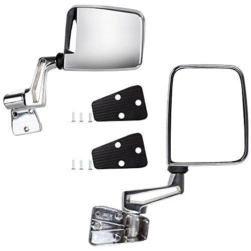 Jeep Towing Mirrors (SCITOO Towing Mirrors for 1987-2002 Jeep Wrangler Chrome Cover Manual Adjust Side View Pair Mirrors)