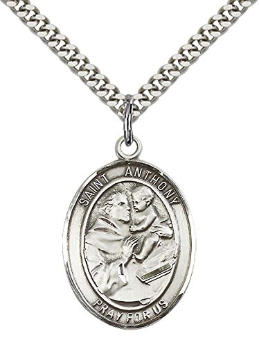 (F A Dumont Church Supplies Sterling Silver St. Anthony of Padua Pendant with 24