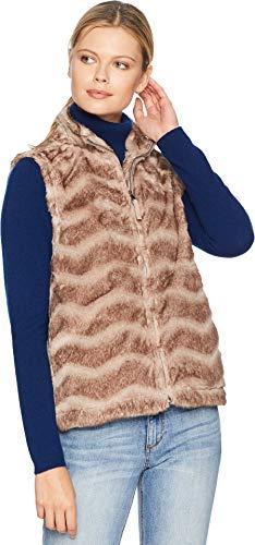 Dylan by True Grit Women's Chevron Vintage Fur Zip Vest Vintage Brown Small ()