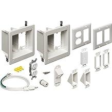 Arlington TVBR2505K Flat Panel TV Cable Organizer 2-Gang Kit with Recessed Power Solution