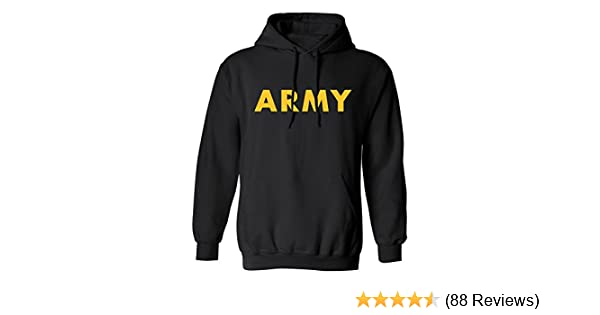 a45ee0c8 ZeroGravitee Black Army Hooded Sweatshirt with Gold Print at Amazon Men's  Clothing store: