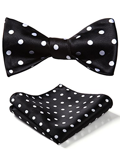 Dot Wedding Party Self Bow Tie Pocket Square Set Black/White ()