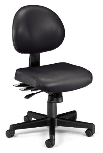 OFM 24-Hour Vinyl Multi-Adjustable Armless Task Chair, Black