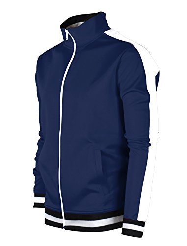 Mens Young Apparel (SCREENSHOTBRAND-51700 Mens Urban Hip Hop Premium Track Jacket - Slim Fit Side Taping Basic-Navy-Medium)