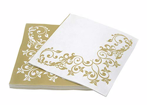 "Simulinen Disposable Dinner Napkins – Decorative, Fancy, Gold – Cloth Like Dinner Napkins – Soft, Absorbent & Durable – 16""x16"" – Pack of 50 by Simulinen"