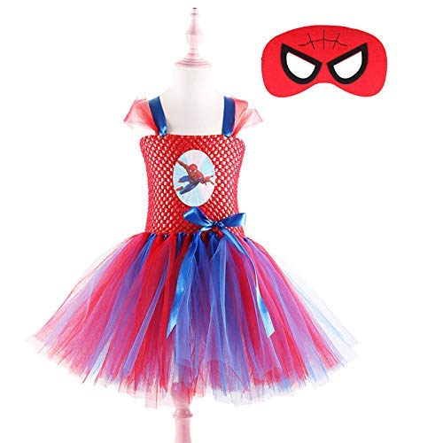 Blue Red Girls Superhero Tutu Dress with Mask Children Kids Halloween Christmas Cosplay Costume 1set -