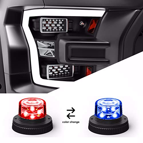 (Flare 6 360° LED Hideaway Strobe Lights/Surface Mount Flashing Warning Light Bulbs for Emergency Vehicles - Red/Blue Alternating)