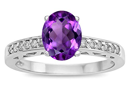- Star K Oval 8x6 Genuine Amethyst Channel Set Engagement Promise Ring 10 kt White Gold Size 6
