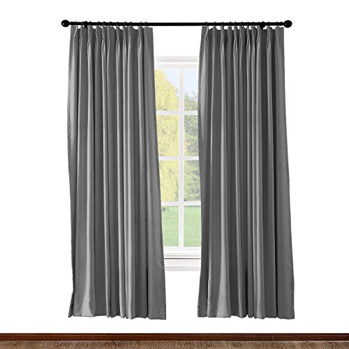 (ChadMade Pinch Pleated Curtain 52W x 84L Inch Solid Thermal Insulated Blackout Patio Door Panel Drape for Traverse Rod and Track, Grey (1 Panel))