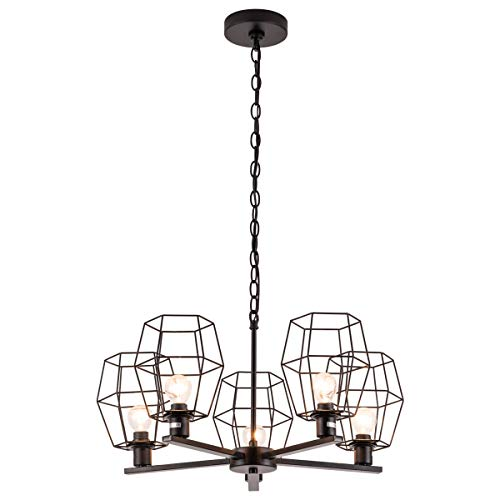 Vintage Industrial Pendant Light, 5 Lights Retro Cage Chandelier Lighting Fixtures with Metal Chain for Kitchen Island Bedroom Living Room Dining Room Cafe Restaurant, Black Spray Paint Finish