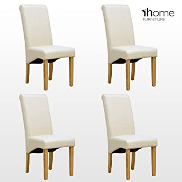4 X 1home Leather Ivory Dining Chair W Oak Finish Wood Legs Roll Top High  Back