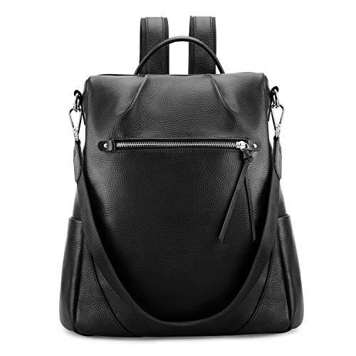 Kattee Leather Backpack Purse for Women Anti-theft Rucksack Shoulder Bag - Black
