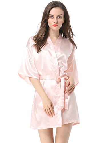 a758481516c Vogue Forefront Womens Satin Plain Short Kimono Robe Bathrobe