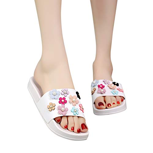- NRUTUP Summer Women Fashion Flower Flat Thick Flip Flops Slippers Sandals Beach Shoes (White,41)