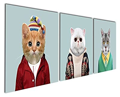 Gardenia Art - Animal World Series 6 White Grey ang Yellow Cats Canvas Prints Modern Wall Art Paintings Cute Cat Giclee Artwork for Room Decoration