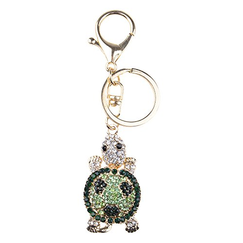 WEKA Unisex Fashion Tortoise Turtle Keychain Key Ring Handbag Pendant Rhinestone New (Green)