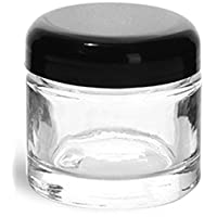 2 Ounce Clear Glass Jar with Black Dome Twist Lined Lid (1 Pack, Clear)