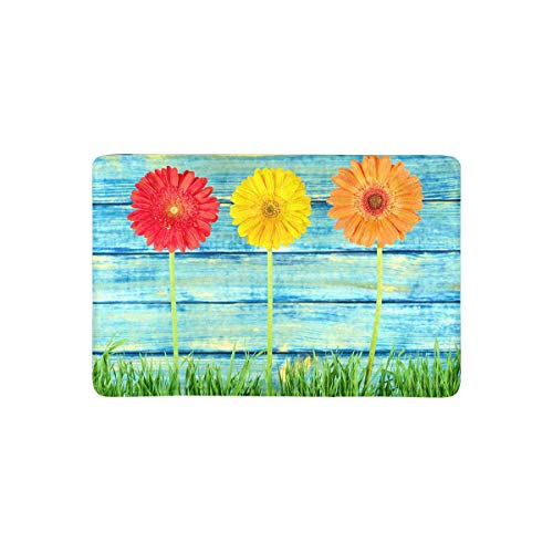 (InterestPrint Summer Colorful Daisy Flowers on Turquoise Blue Wood Doormat Non-Slip Indoor and Outdoor Door Mat Rug Home Decor, Entrance Rug Floor Mats Rubber Backing, 23.6