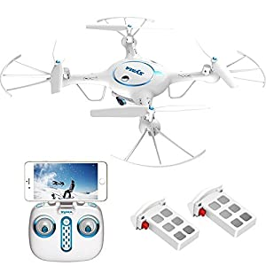 Syma X5UW Wifi FPV Drone with 720P HD Camera Live Video, Barometer Set Height, H/L Speed,RTF RC Quadcopter White + Bonus Battery from Syma