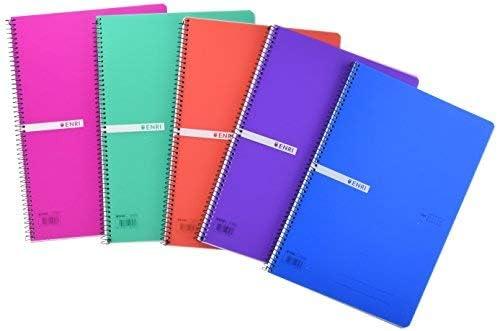Cuadernos Folio(A4) Enri. Pack de 5 unidades. Tapa plástico. 80 Hojas cuadrícula 4x4. Colores aleatorios: Amazon.es: Oficina y papelería