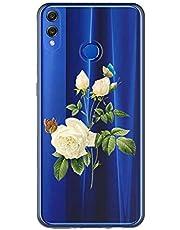Oihxse Case Transparente Suave TPU Compatible con Huawei P Smart Z Funda [Lindo Caricatura Flor Serie Dibujos] Cristal Protector Carcasa Anti Rasguños Bumper Cover-Gardenia