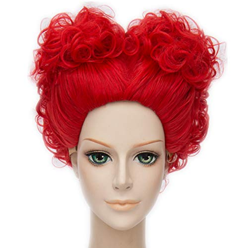 MSHUI Alice's Adventures in Wonderland Red Queen Anime Cosplay Short Curly -