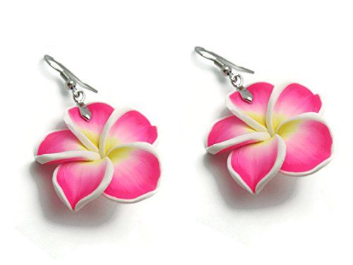 Handmade Fimo (CHADADA Jewelry Hawaiian Fimo Plumeria Flower Dangle Earrings Handmade for Women, 30 mm (Deep Pink), EH24)