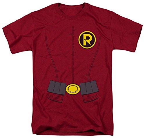 DC Comics Men's Batman New Robin Uniform T-Shirt, Cardinal, Medium ()