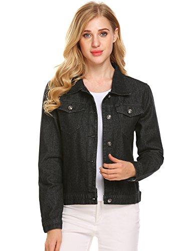 Justrix Womens Casual Denim Jean Jacket Black Medium