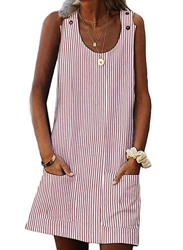 (Asvivid Womens Sleeveless Striped Tank Dress Scoop Neck Button Holiday Vacation T-Shirt Summer Shift Vest Dress Plus Size 1X Pink)